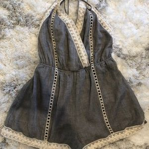 Light Grey and Knit Detail Romper